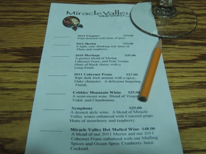 The wine list . . .