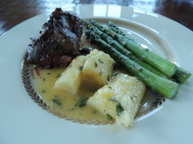 Steak au Poivre, Asparagus & Roasted Parsnips