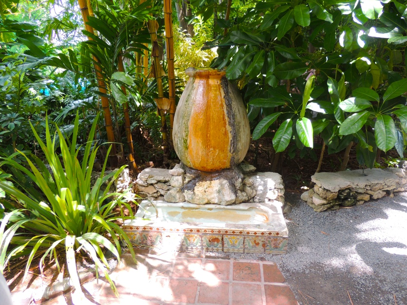 Hemingway made a fountain out of an old urinal from Sloppy Joe's Bar. Pauline added the decorative tiles. The cats use(d) it as a drinking fountain.