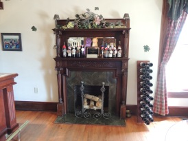 Fireplace in the tasting room.