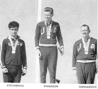 My dad on the medals podium.
