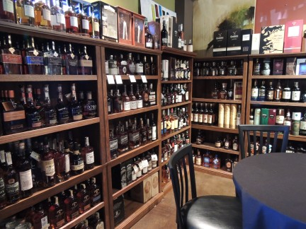 The Wine 121 Wall of Whiskey