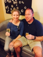 The Mr. Armchair Sommelier and I enjoying a glass of Champagne.