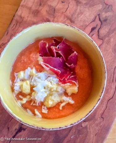 Cold Tomato Soup w/ Boiled Egg and Serrano Ham