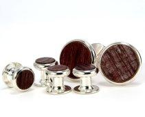 Wine Barrel Silver Cuff Link Tuxedo Set